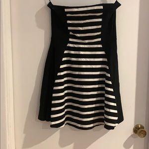 Black and white stripped mini skater dress